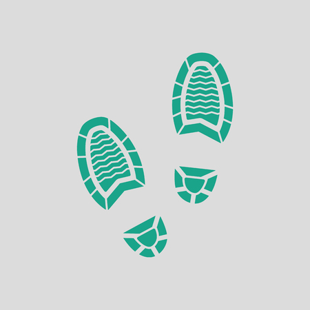 theft proof: Man footprint icon. Gray background with green. Vector illustration. Illustration