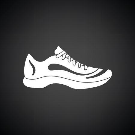 hessian boots: Sneaker icon. Black background with white. Vector illustration.