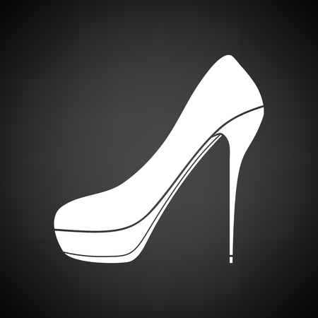 high heel shoe: High heel shoe icon. Black background with white. Vector illustration.