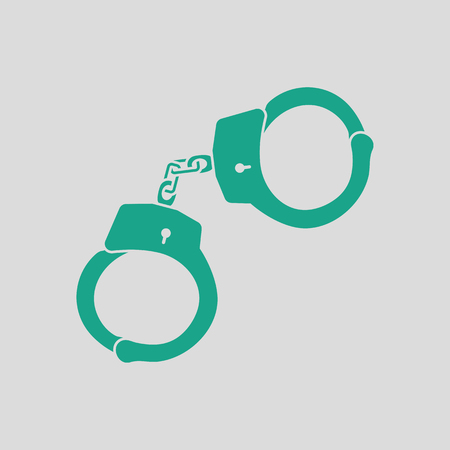 Police handcuff icon. Gray background with green. Vector illustration.