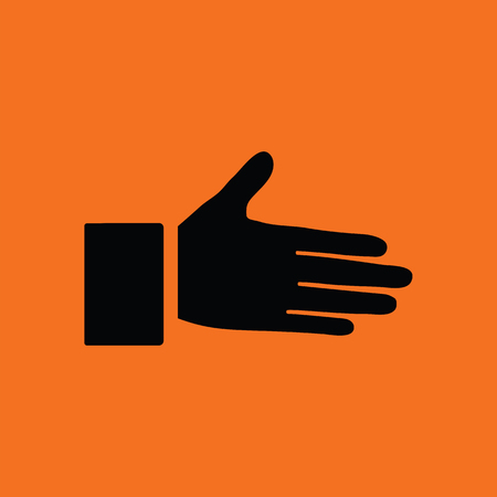 male friends: Open hand icon. Orange background with black. Vector illustration.