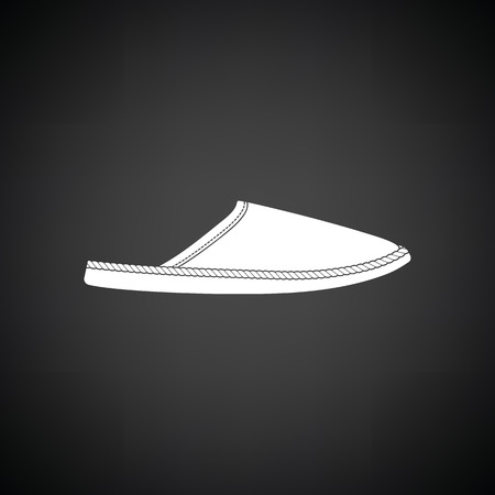 slipper: Man home slipper icon. Black background with white. Vector illustration. Illustration