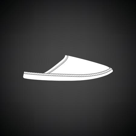 warmly: Man home slipper icon. Black background with white. Vector illustration. Illustration