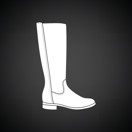 Autumn woman boot icon. Black background with white. Vector illustration.