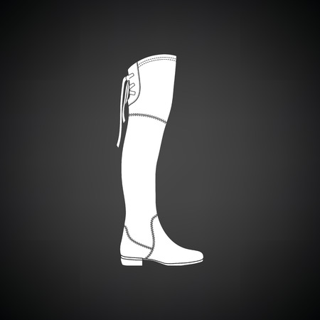 hessian boots: Hessian boots icon. Black background with white. Vector illustration. Illustration