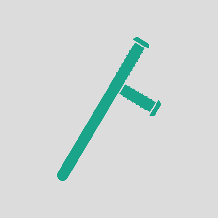 nightstick: Police baton icon. Gray background with green. Vector illustration.