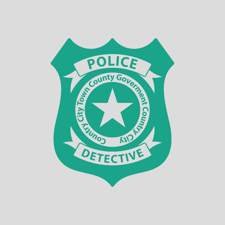 enforcement: Police badge icon. Gray background with green. Vector illustration. Illustration
