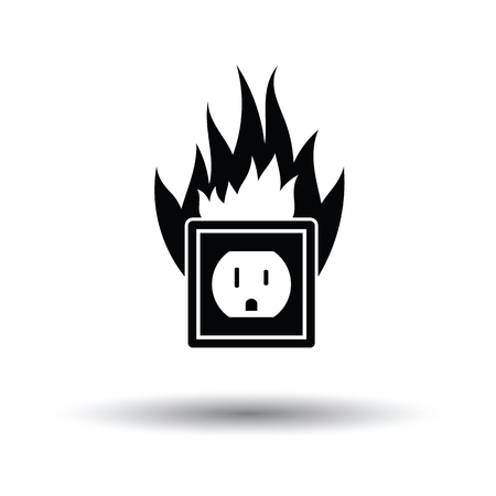 Electric outlet fire icon. White background with shadow design. Vector illustration.