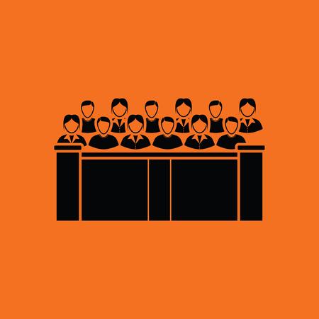 jury: Jury icon. Orange background with black. Vector illustration.