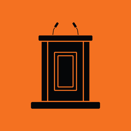 witness: Witness stand icon. Orange background with black. Vector illustration. Illustration