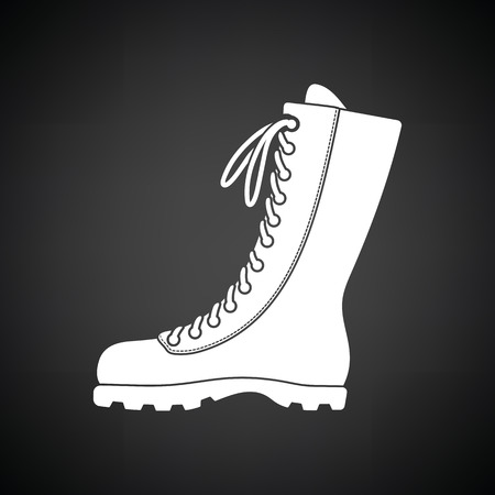 hiking boot: Hiking boot icon. Black background with white. Vector illustration. Illustration