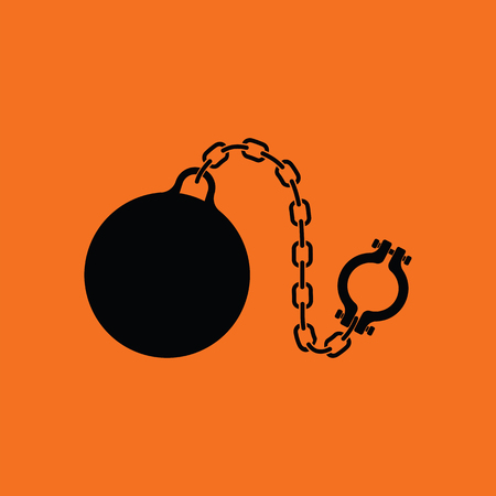 Fetter with ball icon. Orange background with black. Vector illustration.