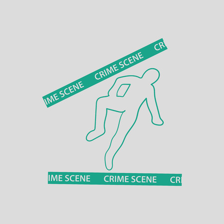 csi: Crime scene icon. Gray background with green. Vector illustration.