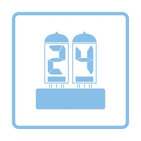 readout: Electric numeral lamp icon. Blue frame design. Vector illustration. Illustration