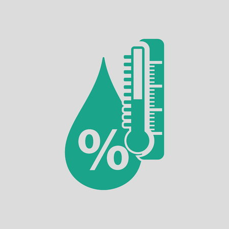 humidity: Humidity icon. Gray background with green. Vector illustration.