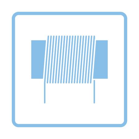 inductor: Inductor coil icon. Blue frame design. Vector illustration. Illustration