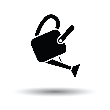 Watering can icon. White background with shadow design. Vector illustration.