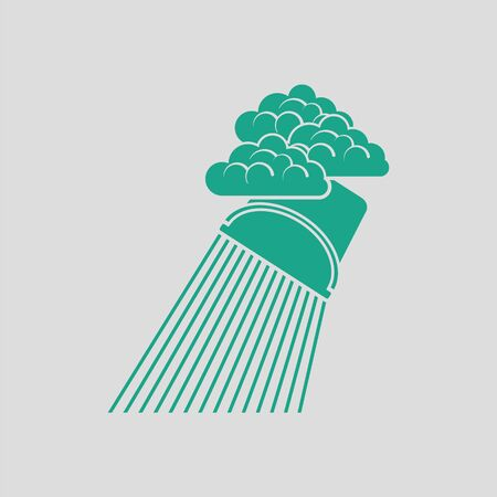 raincloud: Rainfall like from bucket icon. Gray background with green. Vector illustration.