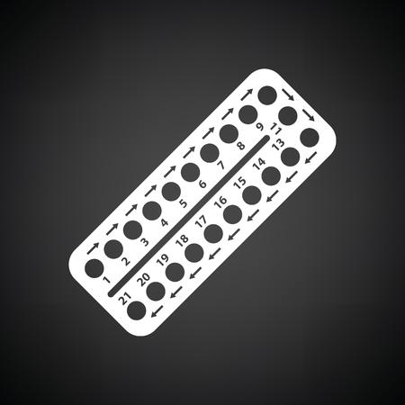 Contraceptieve pilpictogram. Zwarte achtergrond met wit. Vector illustratie.