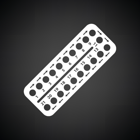 Contraceptive pill pack icon. Black background with white. Vector illustration.