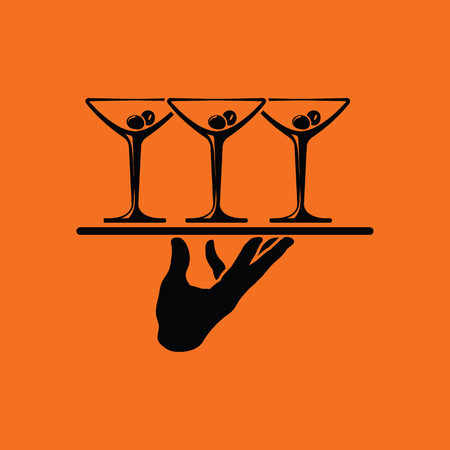 Waiter hand holding tray with martini glasses icon. Orange background with black. Vector illustration.