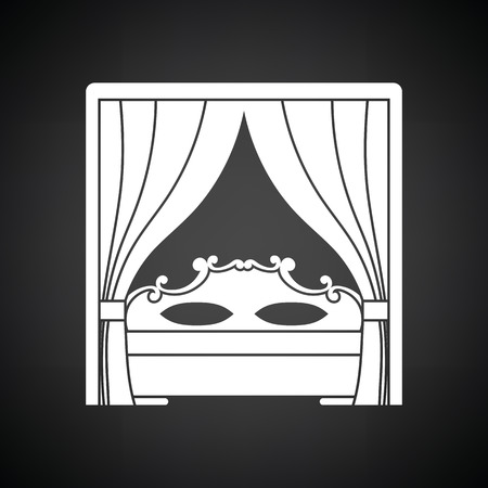 pornography: Boudoir icon. Black background with white. Vector illustration.