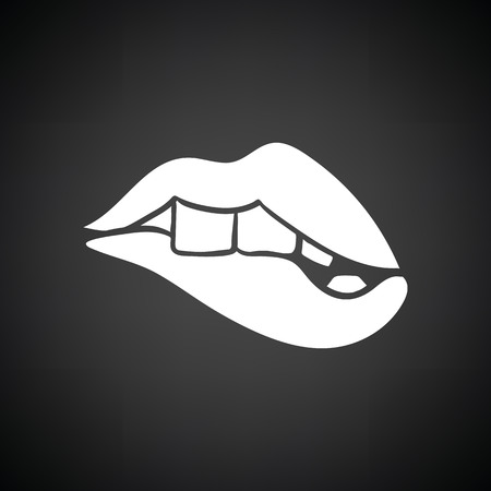 pornography: Sexy lips icon. Black background with white. Vector illustration.