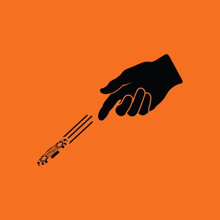 Hand throwing gamble chips icon. Orange background with black. Vector illustration.
