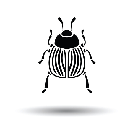 Colorado beetle icon. White background with shadow design. Vector illustration.