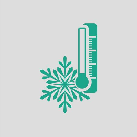 coldness: Winter cold icon. Gray background with green. Vector illustration.