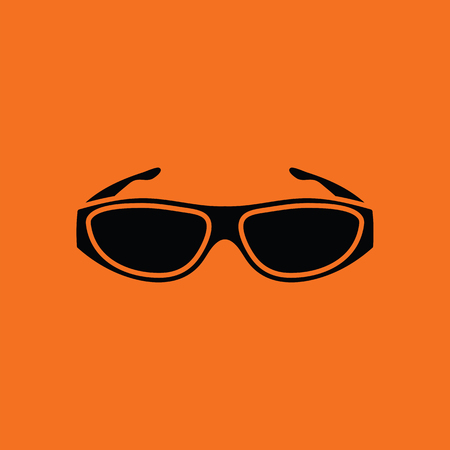 bifocals: Poker sunglasses icon. Orange background with black. Vector illustration.