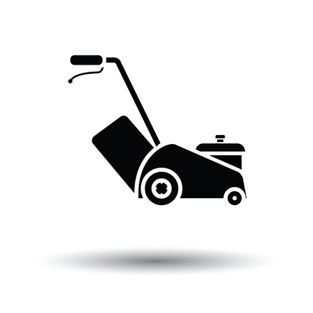 Lawn mower icon. White background with shadow design. Vector illustration.
