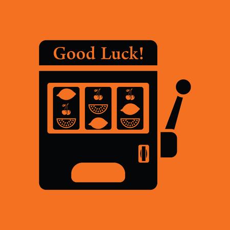bandit: One-armed bandit icon. Orange background with black. Vector illustration.