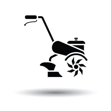 Garden tiller icon. White background with shadow design. Vector illustration.