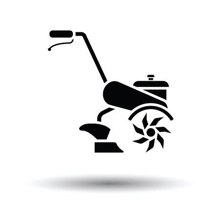 labranza: Icono de la cultivadora de jardín. Fondo blanco con el diseño de la sombra. Ilustración del vector. Vectores