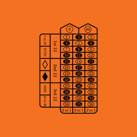 roulette table: Roulette table icon. Orange background with black. Vector illustration. Illustration