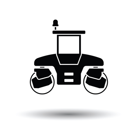 Icon of road roller. White background with shadow design. Vector illustration. Illustration