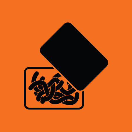 Icon of worm container. Orange background with black. Vector illustration. Illustration