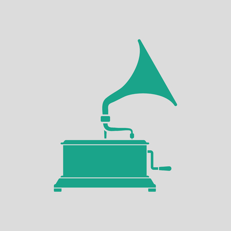 restored: Gramophone icon. Gray background with green. Vector illustration.