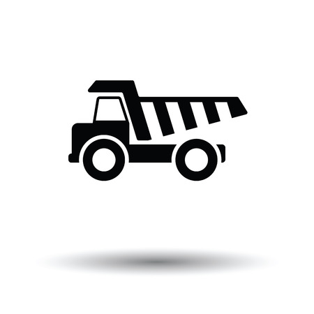 payload: Icon of tipper. White background with shadow design. Vector illustration.
