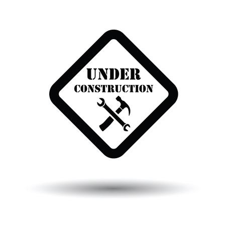 Icon of Under construction. White background with shadow design. Vector illustration. Illustration