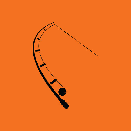 Icon of curved fishing tackle. Orange background with black. Vector illustration.