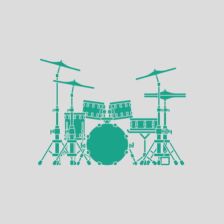 school kit: Drum set icon. Gray background with green. Vector illustration.