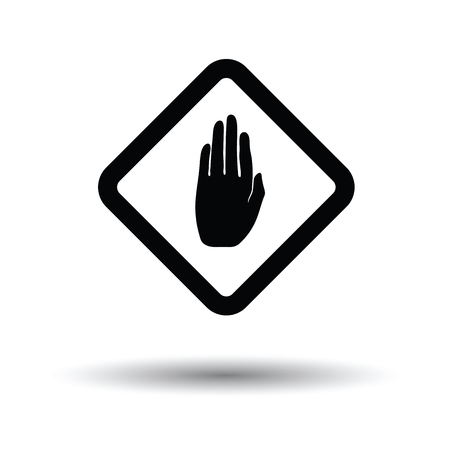 Icon of Warning hand. White background with shadow design. Vector illustration.