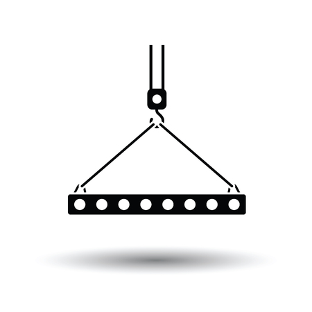 slings: Icon of slab hanged on crane hook by rope slings . White background with shadow design. Vector illustration.