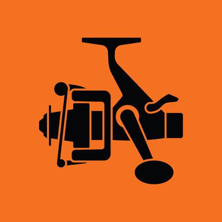 friction: Icon of Fishing reel Orange background with black. Vector illustration.