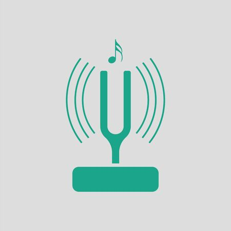 Tuning fork icon. Gray background with green. Vector illustration. Illustration