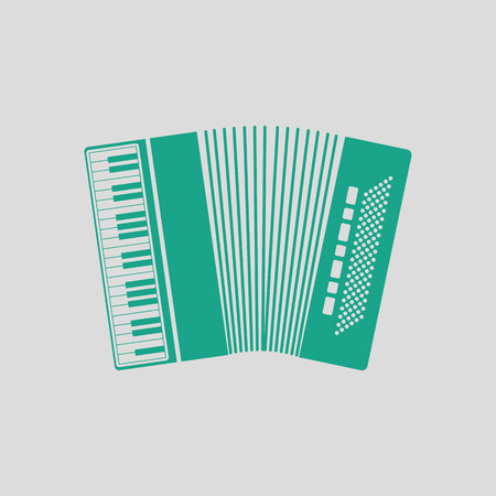 concertina: Accordion icon. Gray background with green. Vector illustration.