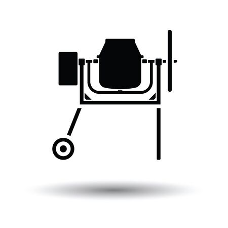 Icon of Concrete mixer. White background with shadow design. Vector illustration.