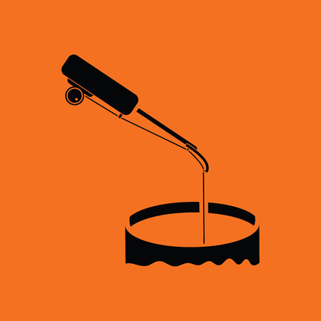 Icon of Fishing winter tackle . Orange background with black. Vector illustration.